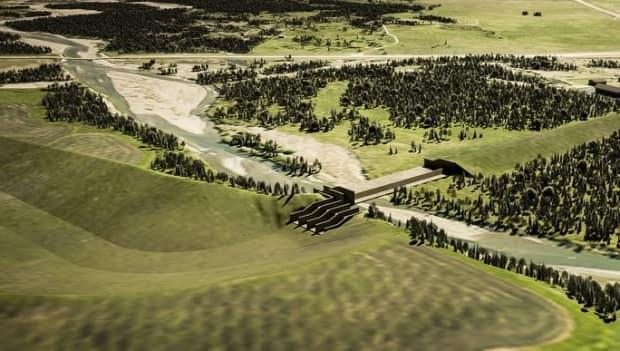 A artist's rendering of the off-stream reservoir project near Springbank Road.  (Government of Alberta - image credit)