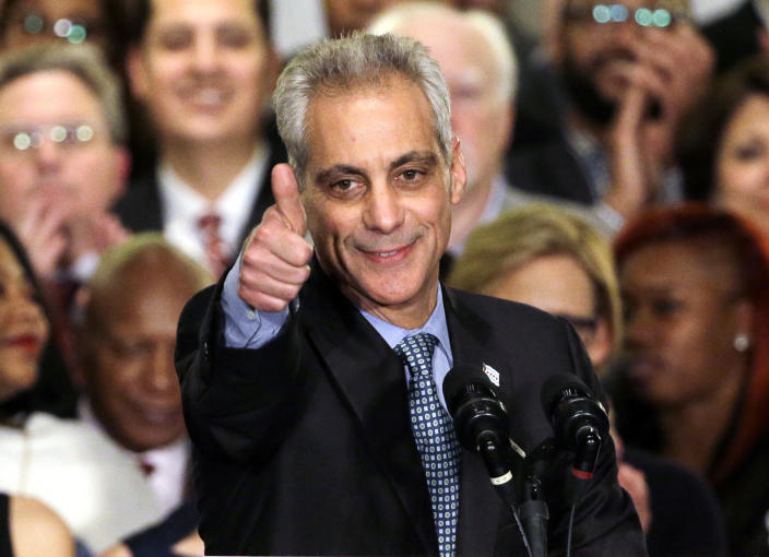 FILE - In this April 7, 2015, file photo, Chicago Mayor Rahm Emanuel celebrates at Plumbers Local 130 Union Hall in Chicago after winning in a runoff election for a second term in office. Emanuel, a Democratic congressman and chief of staff to President Barack Obama before becoming mayor in 2011, announced Tuesday, Sept. 4, 2018, that he won't seek a third term in 2019. (AP Photo/Nam Y. Huh, File)