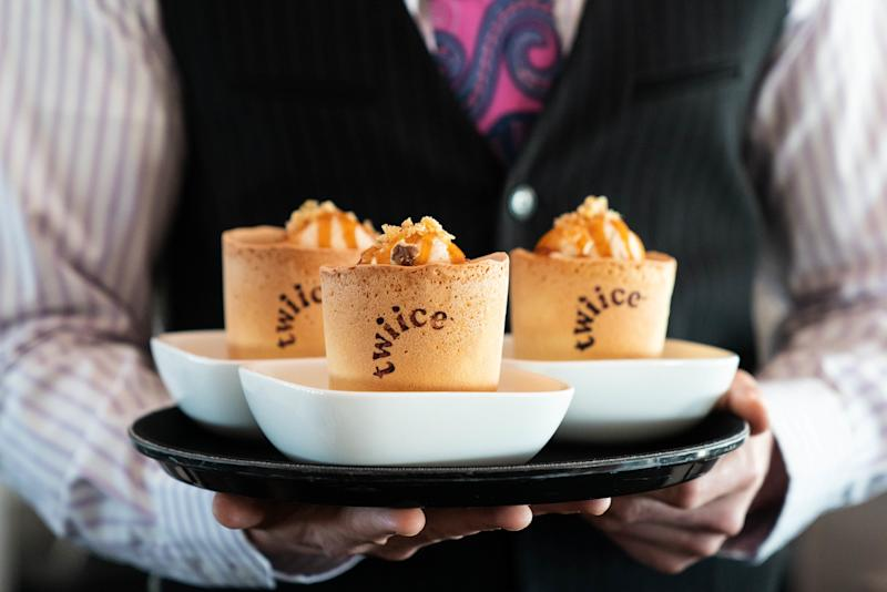 The edible coffee cups double up as dessert. [Photo: PA]