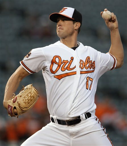 Baltimore Orioles starting pitcher Brian Matusz throws to the Toronto Blue Jays in the second inning of a baseball game in Baltimore, Thursday, April 26, 2012. (AP Photo/Patrick Semansky)