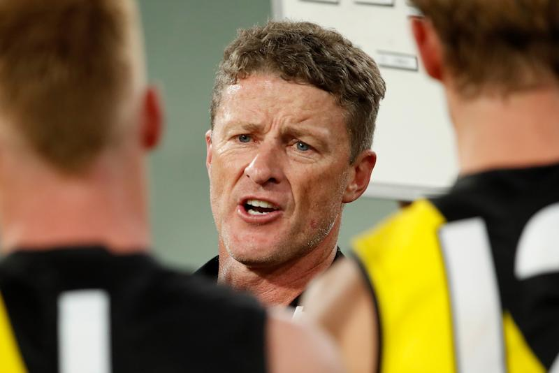 Damien Hardwick, pictured here speaking to his Richmond players.