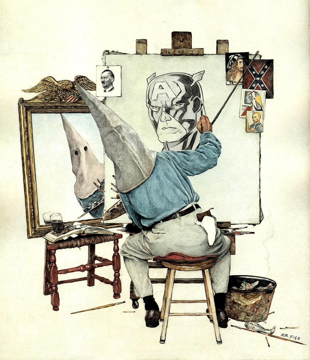 An illustration by Mr. Fish, titled, 'Through A Looking Glass Darkly' (Image: Dwayne Booth/Mr. Fish)
