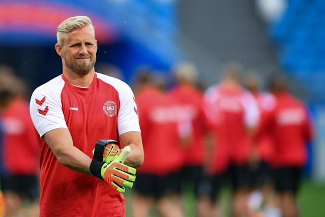 Denmark goalkeeper Kasper Schmeichel trains in Samara