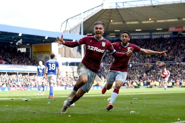 Jack Grealish celebrates scoring the winning goal in Sunday's match. (Photo by Nathan Stirk/Getty Images) <span><br> <br>The Championship side's star man went on to score the winning goal after 67 minutes to see them through to a 1-0 victory, before hailing the match as 'the best day of his life'.</span>