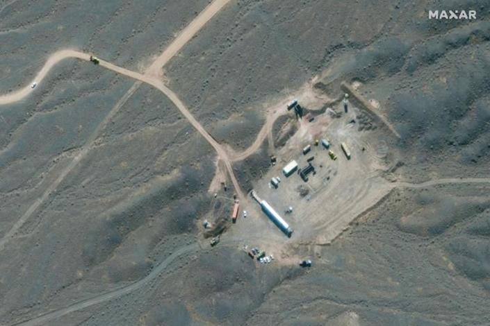 This file handout satellite image provided by Maxar Technologies on January 28, 2020, shows an overview of Iran's Natanz nuclear facility, south of the capital Tehran