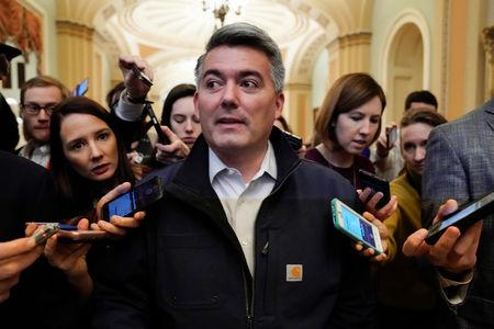 FILE PHOTO: Senator Cory Gardner (R-C) arrives for a Republican caucus meeting before U.S. President Donald Trump announced a deal to end the partial government shutdown on Capitol Hill in Washington, U.S., January 25, 2019.      REUTERS/Joshua Roberts/File Photo