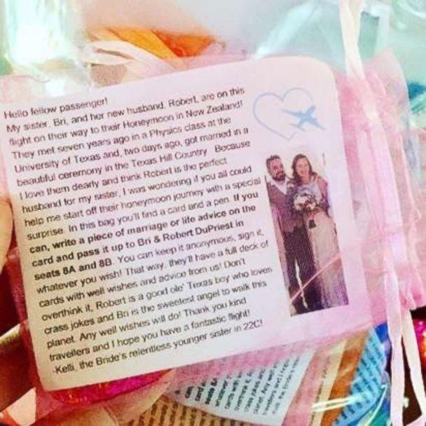 PHOTO: An example of the goodie bag Kelli Schultz passed out to passengers on an April 16, 2018 United flight en route to San Francisco. (Kelli Schultz)