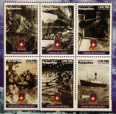 Commemorative Titanic stamps from Madagascar, part of a collection of enthusiast Kenneth Mascarenhas.