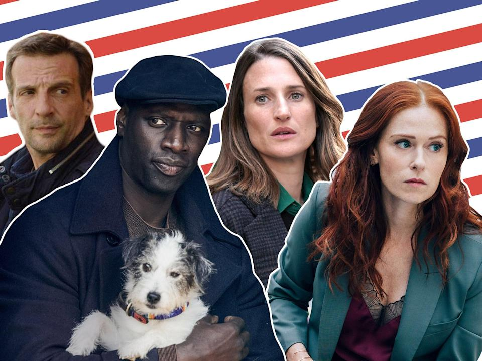 Stars de la télévision! Mathieu Kassovitz in 'Le Bureau', Omar Sy in 'Lupin', Camille Cottin in 'Call My Agent!' and Audrey Fleurot in 'Spiral' (Amazon/Netflix/BBC/Canal+)