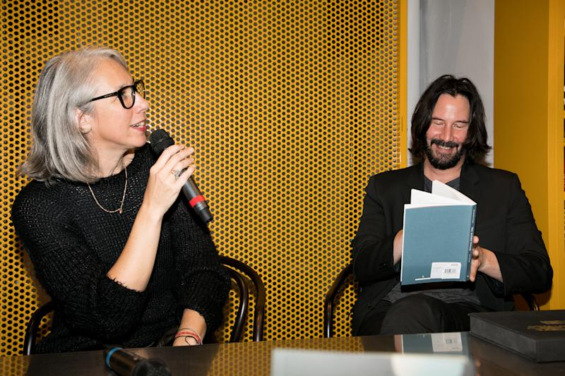 Alexandra Grant and actor Keanu Reeves attend the 'X Artists' books launch in Paris in November 2017. [Photo: Getty]