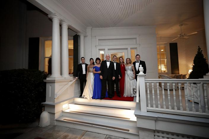 The Pence family poses on the front porch before heading to the inaugural balls on Jan. 20, 2017.