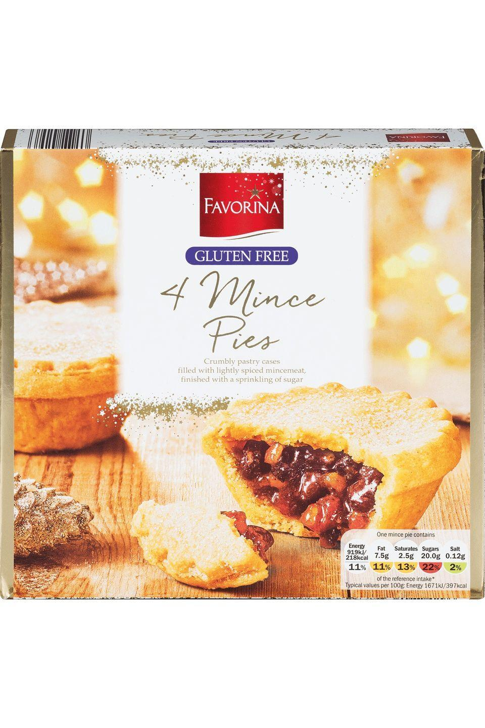 "<p><strong>Overall score: 67/100 </strong></p><p>A subtle, earthy aroma comes from the fruity mincemeat, with testers praising the good filling to pastry ratio of these neatly designed gluten-free mince pies. The soft and crisp casing has a somewhat cloying texture and, although the filling has a full, fruity taste, it lacked any strength. </p><p><a class=""link rapid-noclick-resp"" href=""https://www.lidl.co.uk/"" rel=""nofollow noopener"" target=""_blank"" data-ylk=""slk:AVAILABLE IN STORE ONLY"">AVAILABLE IN STORE ONLY</a> <strong>Lidl, £1.49 for 4 (serves 4)</strong></p>"