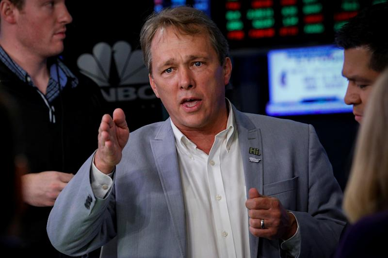 Bruce Linton, CEO of Canopy Growth Corporation a medical marijuana company, speaks during an interview on CNBC on the floor of the New York Stock Exchange (NYSE) in New York, U.S., June 28, 2018. REUTERS/Brendan McDermid