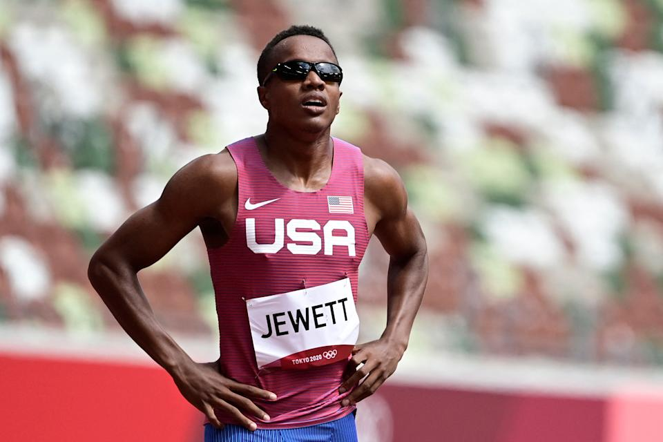 USA's Isaiah Jewett prepares to compete in the men's 800m heats during the Tokyo 2020 Olympic Games on July 31, 2021. (JAVIER SORIANO/AFP via Getty Images)
