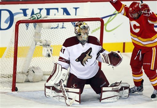 Phoenix Coyotes goalie Mike Smith, left, reacts as Calgary Flames' Lee Stempniak celebrates his team's goal during the second period of an NHL hockey game in Calgary, Alberta, Sunday, Feb. 24, 2013. (AP Photo/The Canadian Press, Jeff McIntosh)