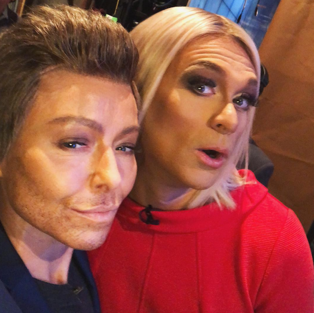 """<p>The hosts of <i>Live With Kelly and Ryan</i> conducted a """"#Halloween life swap,"""" Seacrest quipped. """"The treat was playing @kellyripa, the trick was the transformation #LIVEHalloween."""" (Photo: Instagram/Ryan Seacrest) </p>"""