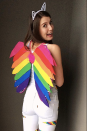 """<p>Short on DIY skills? You can still pull together this super fun costume in a pinch. Simply add some rainbow duct tape to your favorite white outfit, make some wings out of cardboard and felt, then slip on some cat ears. </p><p><em><a href=""""https://sewbakedecorate.com/2015/11/03/diy-lisa-frank-rainbow-kitten-costume/"""" rel=""""nofollow noopener"""" target=""""_blank"""" data-ylk=""""slk:Get the tutorial."""" class=""""link rapid-noclick-resp"""">Get the tutorial.</a></em></p><p><a class=""""link rapid-noclick-resp"""" href=""""https://www.amazon.com/Craftzilla-Colored-Duct-Tape-Colorful/dp/B07G7BC4JT?tag=syn-yahoo-20&ascsubtag=%5Bartid%7C10072.g.37059504%5Bsrc%7Cyahoo-us"""" rel=""""nofollow noopener"""" target=""""_blank"""" data-ylk=""""slk:SHOP DUCT TAPE"""">SHOP DUCT TAPE</a></p>"""
