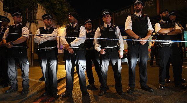 Police officers at the scene of the van attack in north London. Photo: AP