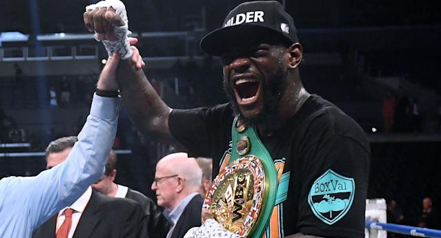 Deontay Wilder celebrates after defeating Tyson Fury on Dec. 1. in Los Angeles. (Getty Images)