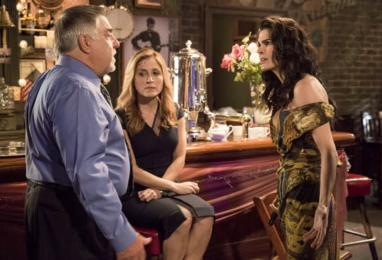 """<p><b>What's Coming Up:</b> Last season of the TNT crime drama ended on a cliffhanger– a shooting at Korsak's (Bruce McGill) wedding! — and the show's farewell run will start just where we left off. """"We pick up right at that shooting. We will discover the consequence of that event — and there are consequences, though not the ones that obviously present themselves,"""" says exec producer Jan Nash.<br><br><b>Girl Power:</b> The storyline with stalker/shooter Alice Sands (Annabeth Gish) will play out over the first two episodes. Meanwhile, Yvette Nicole Brown guest stars as a troublemaking postal inspector and Sharon Lawrence will return as Maura's (Sasha Alexander) biological mother. """"We hadn't seen Sharon Lawrence in a number of years and she played a very meaningful role on the show, so we did want to find a way to get her back,"""" Nash says. """"We feel very, very grateful to have the luxury of giving these characters what we hope will be the finale they deserve."""" <i>— Victoria Leigh Miller</i><br><br><i>(Credit: Doug Hyun/TNT)</i> </p>"""