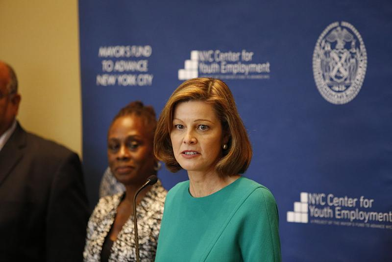 Guardian Insurance CEO Deanna Mulligan, center, and NYC first lady Chirlane McCray during a press conference.