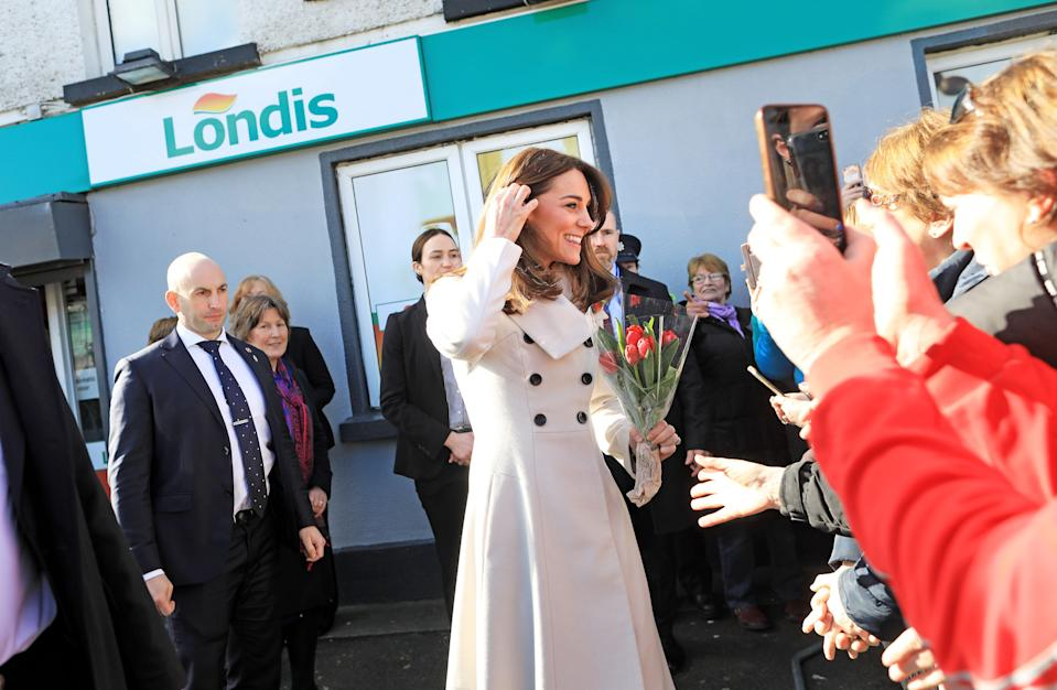 Department of Foreign Affairs and the British Embassy handout photo of the Duchess of Cambridge after visiting a Londis supermarket in Prosperous, Co Kildare, during her three day visit to the Republic of Ireland.