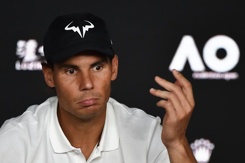 Spain's Rafael Nadal reacts during a press conference after his defeat to Serbia's Novak Djokovic in the men's singles final on day 14 of the Australian Open tennis tournament in Melbourne on January 27, 2019. (Photo by PAUL CROCK / AFP) / -- IMAGE RESTRICTED TO EDITORIAL USE - STRICTLY NO COMMERCIAL USE --        (Photo credit should read PAUL CROCK/AFP via Getty Images)