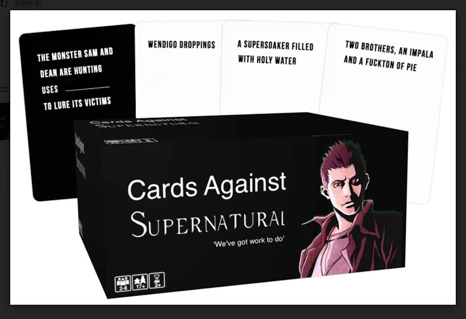 <p>If they love playing Cards Against Humanity, the <span>Cards Against <strong>Supernatural</strong> 2021</span> ($51) is something they'll absolutely love. It's the same rules as the beloved card game but all the prompts revolve around the show. </p>