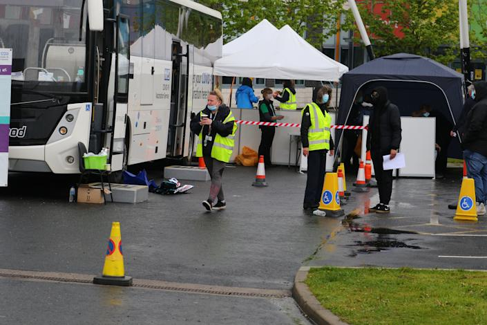 The vaccine bus and marquees were used to give out the vaccines. (SWNS)