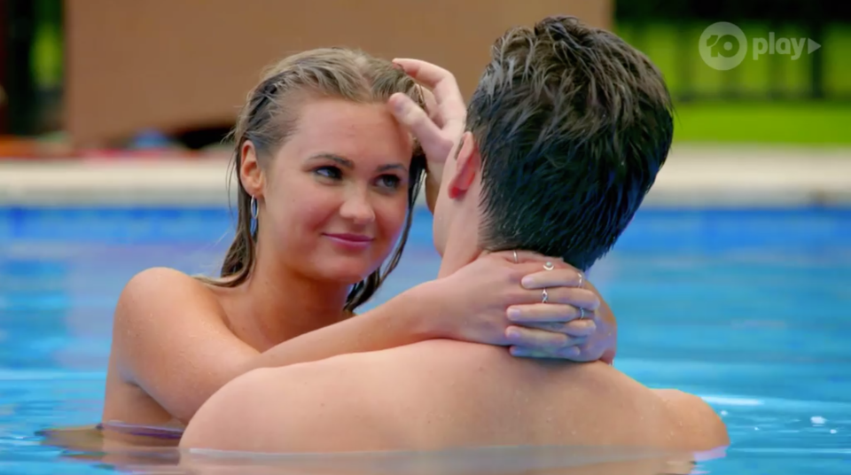 Chelsie McLeod, who is tipped to win The Bachelor Australia 2019, pictured with Matt Agnew in the pool.