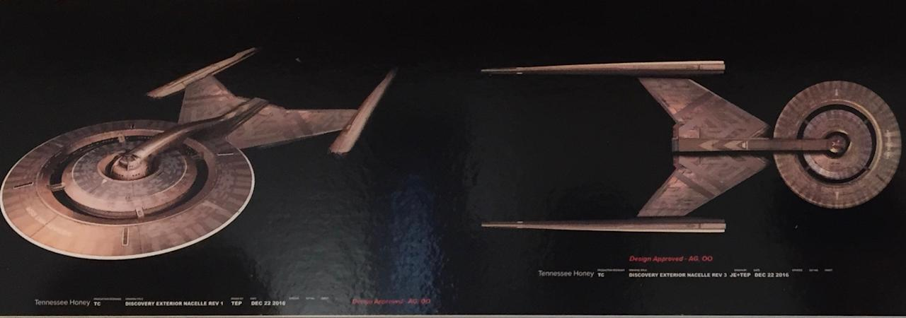 <p>Concept art for the titular ship takes cues from the <em>Enterprise</em> but is designed to look more primitive, with an Art Deco vibe. (Photo: Marcus Errico/Yahoo TV) </p>