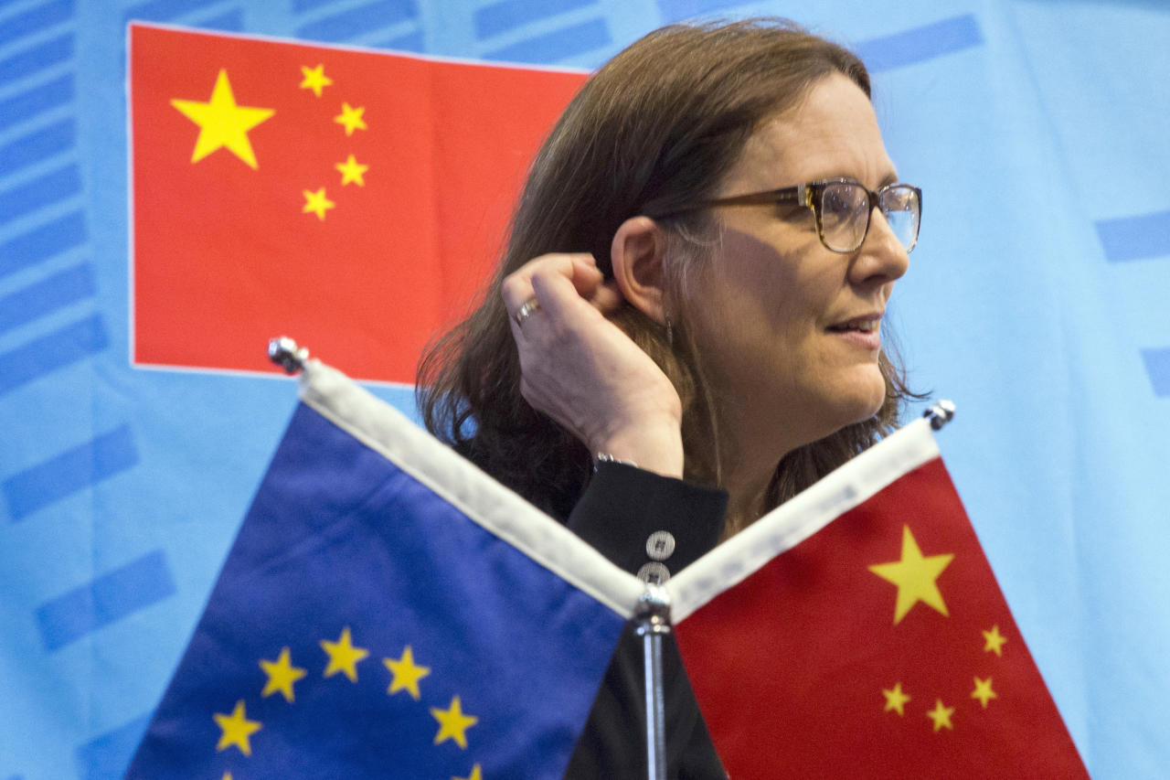 <p> FILE - In this July 11, 2016, file photo, EU Trade Commissioner Cecilia Malmstrom speaks at the University of International Business and Economics in Beijing. One in five foreign companies in China feels compelled to hand over technology for market access, a business group said Wednesday, June 20, 2018, highlighting a key irritant in an escalating U.S.-Chinese trade dispute. The European Union Chamber of Commerce in China's report follows President Donald Trump's order for tariffs on additional Chinese goods in response to complaints Beijing steals or pressures companies to hand over technology. (AP Photo/Ng Han Guan, File) </p>