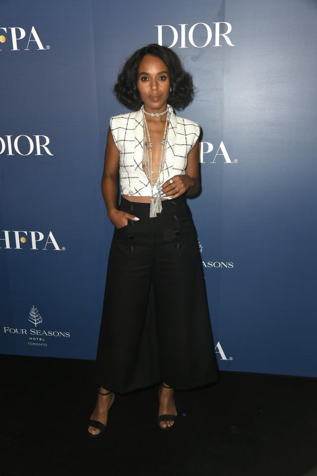 <p>While promoting <em>American Son</em> at the Toronto International Film Festival, Kerry Washington wore a plunging Chanel blouse with cropped trousers and layered pearl necklaces.</p>