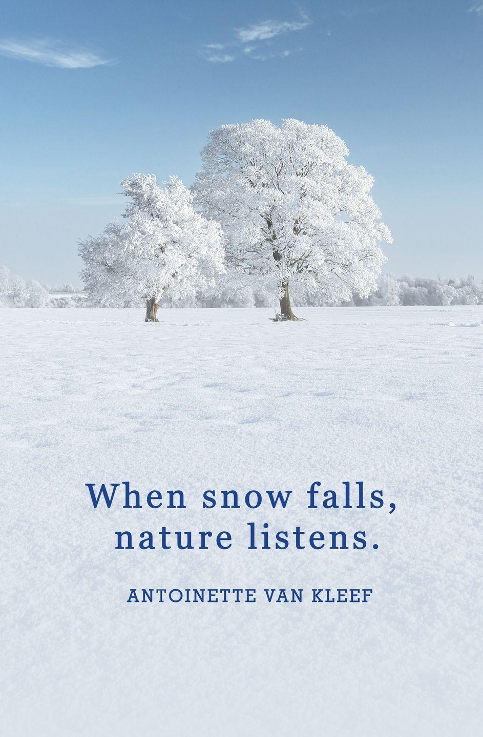 "<p>""When snow falls, nature listens.""</p>"
