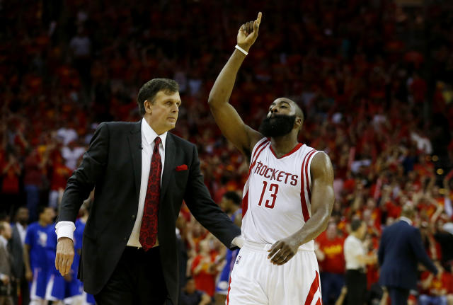 James Harden and Kevin McHale, in happier days. (Getty)