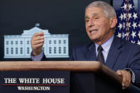Dr. Anthony Fauci, director of the National Institute for Allergy and Infectious Diseases, speaks during a news conference with the coronavirus task force at the White House in Washington, Thursday, Nov. 19, 2020. (AP Photo/Susan Walsh)