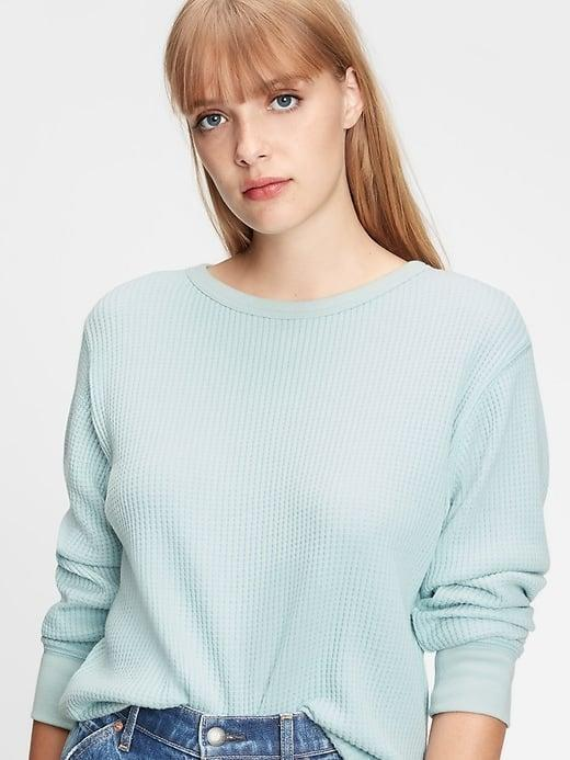 <p>We see seafoam and love it with this <span>Gap Waffle-Knit Crewneck T-Shirt</span> ($19, originally $40).</p>