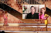 """Sacha Baron Cohen (on screen with actress wife Isla Fisher) won Golden Globes for best comedy film actor and best comedy film for """"Borat Subsequent Moviefilm"""""""