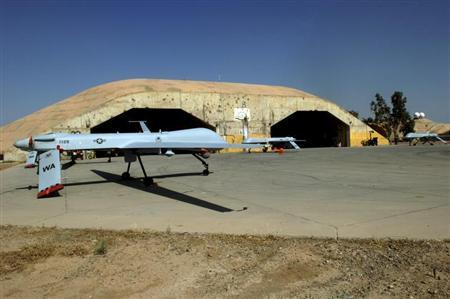 MQ-1 Predators sit on the Bravo South parking ramp at Balad Air Base, Iraq in this USAF handout photo