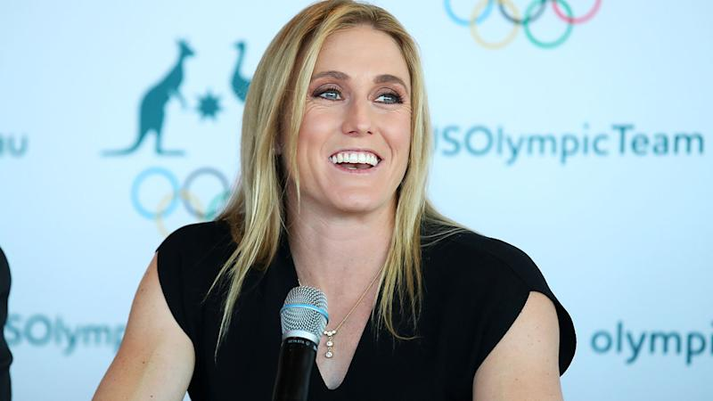 Sally Pearson, pictured here speaking to the media during a press conference after announcing her retirement.