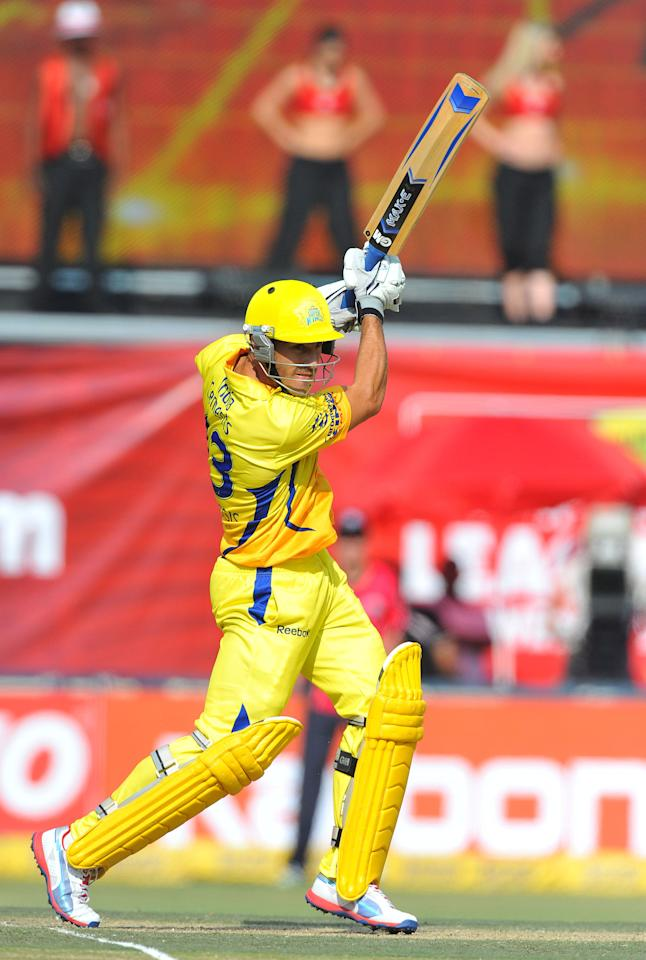 JOHANNESBURG, SOUTH AFRICA - OCTOBER 14:  Faf du Plessis of CSK hits a boundary during the Champions League Twenty20 match between Chennai Super Kings and Sydney Sixers at Bidvest Wanderers Stadium on October 14, 2012 in Johannesburg, South Africa. (Photo by Duif du Toit / Gallo Images/Getty Images)