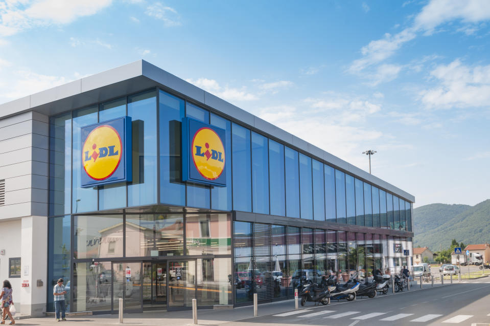 MASSA, ITALY - JULY 26, 2018 - The main entrance to a Lidl grocery store in Italy