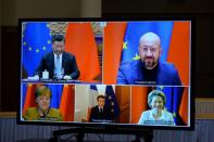 EU Commission President von der Leyen and EU Council President Michel have a video conference with Chinese President Jinping, in Brussles