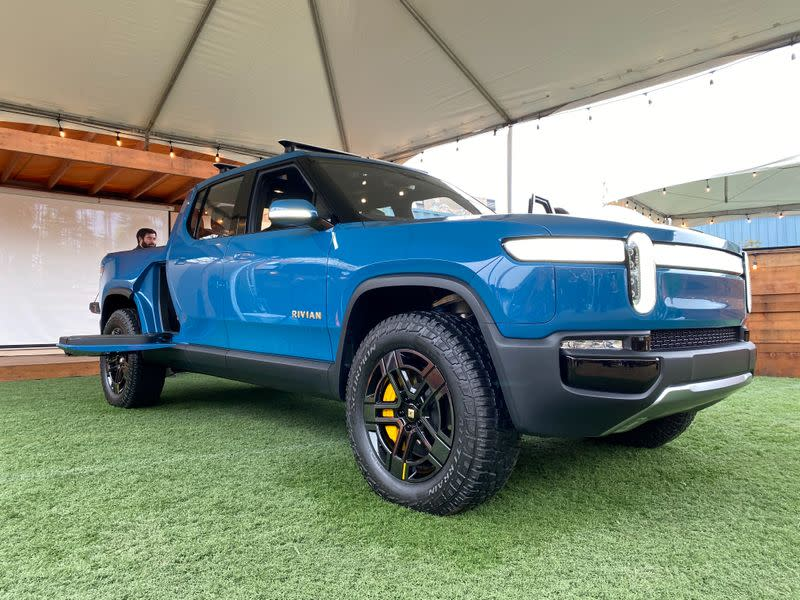 Electric vehicle startup Rivian shows off its SUV truck in Mill Valley