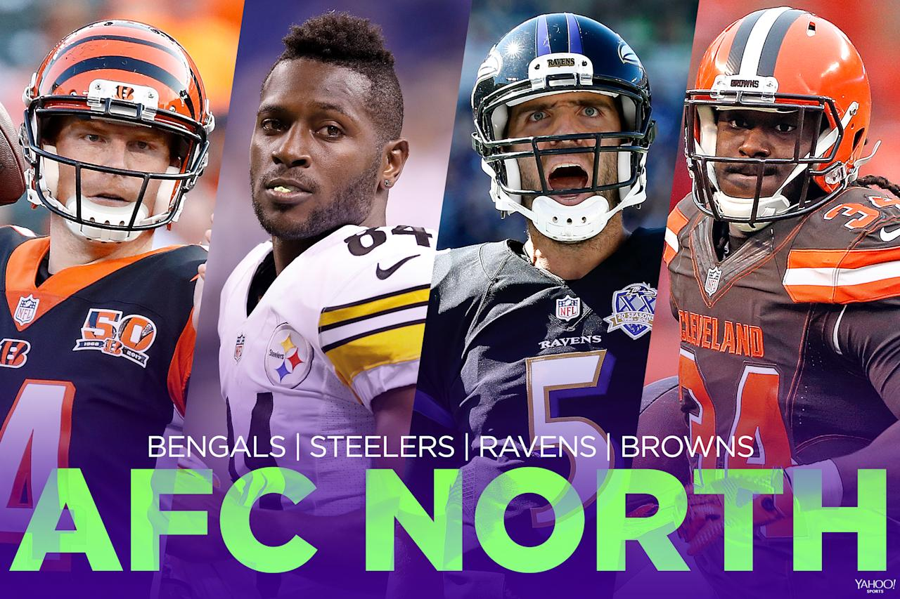 <p>We know the Pittsburgh Steelers will be pretty good. We know the Cleveland Browns will probably be pretty bad. So what to make of the Cincinnati Bengals and Baltimore Ravens in the middle? Both teams have questions. It should still be a competitive division. This division has had multiple playoff teams in seven of the last nine seasons. </p>