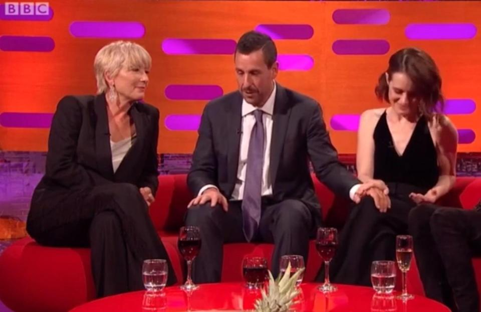 Adam touched Claire's knee thigh on multiple occasions. Copyright: [BBC]