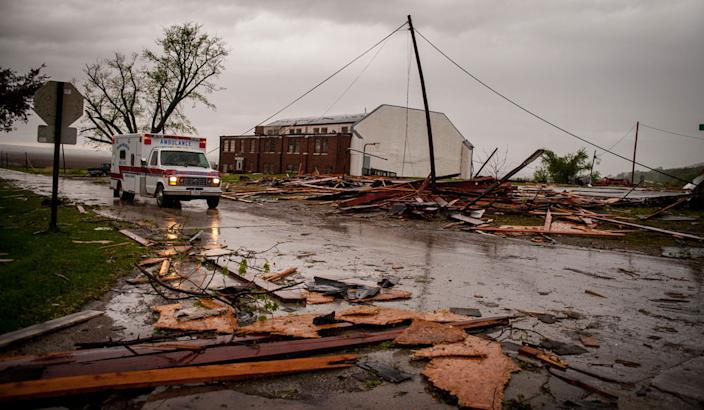 THURMAN, IA - APRIL 14: Damage from an apparent tornado is seen April 14, 2012 in Thurman, Iowa. The storms were part of a massive system that affected areas from Northern Nebraska south through Oklahoma.