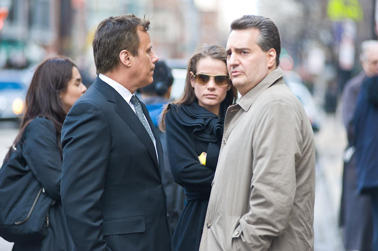 CHICAGO, IL - APRIL 08:  Richard Roeper (L) and Roe Conn attend funeral services for Roger Ebert at Holy Name Cathedral on April 8, 2013 in Chicago, Illinois.  (Photo by Timothy Hiatt/Getty Images)