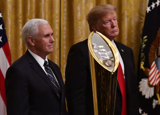 President Donald Trump and Vice President Mike Pence look on during a ceremony honoring CFP champion Clemson on Jan. 14, 2019. (Brad Mills/USA Today)