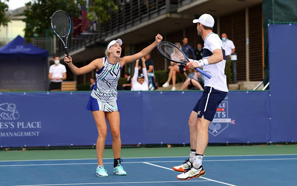 Andy Murray and Naomi Broady celebrate their win - Getty Images